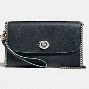 Coach Chain Crossbody with Charm Navy Silver Bag